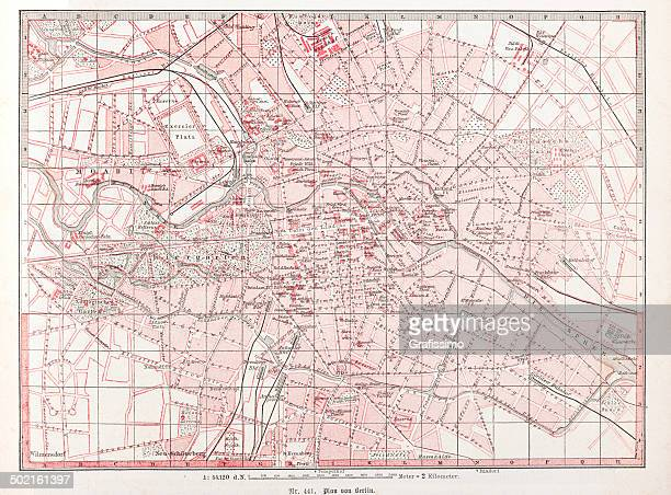 City Map of Berlin downtown Germany from 1870