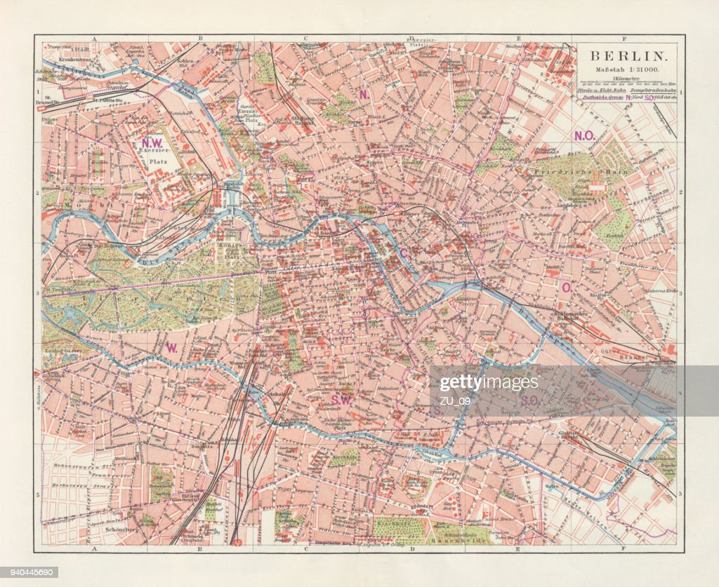 City Map Of Berlin Germany Lithograph Published In 1897 Stock