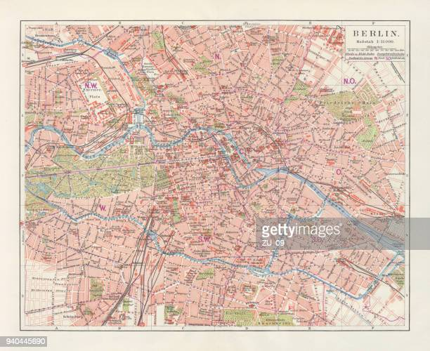 City map of Berlin, Germany, lithograph, published in 1897