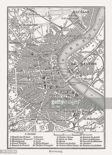 ボルドー, フランス、木の彫刻の市内地図は、1897 年に公開 - ボルドー点のイラスト素材/クリップアート素材/マンガ素材/アイコン素材