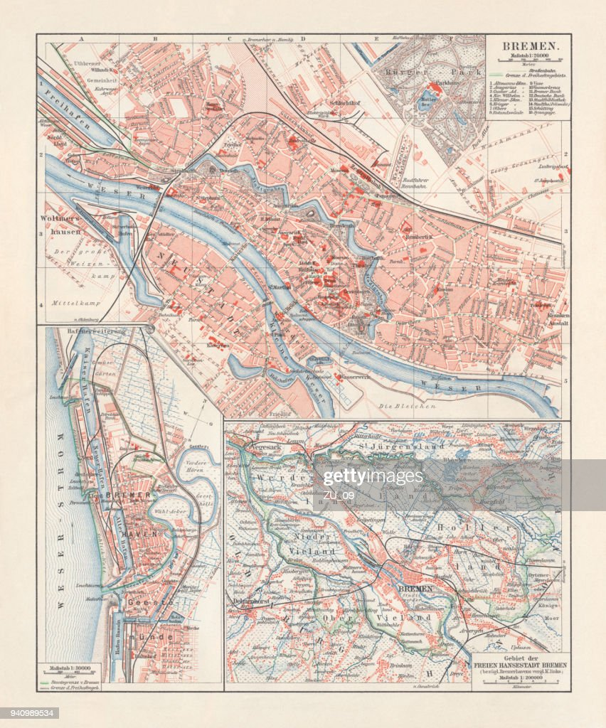 City Map Of Bremen Germany Lithograph Published 1897 stock ...