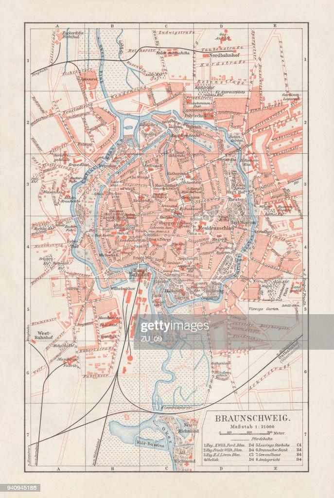 Lower Saxony Germany Map.City Map Of Brunswick Lower Saxony Germany Lithograph Published 1897