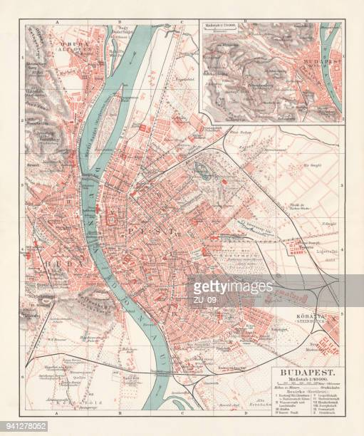 city map of budapest, capital of hungary, lithograph, published 1897 - traditionally hungarian stock illustrations