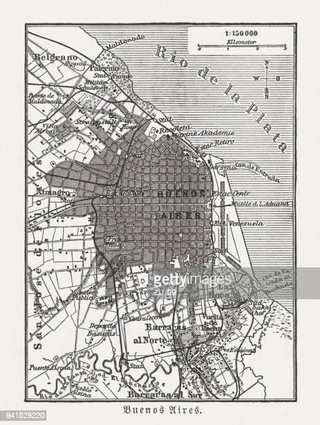ブエノスアイレス、アルゼンチン、木の彫刻の市内地図公開 1897 - ブエノスアイレス点のイラスト素材/クリップアート素材/マンガ素材/アイコン素材