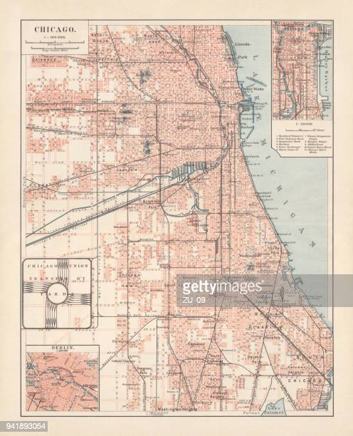 city map of chicago, illinois, usa, lithograph, published in 1897 - lakeshore stock illustrations