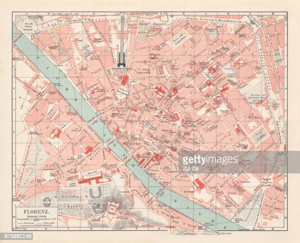 City map of Florence, Italy, lithograph, published in 1897