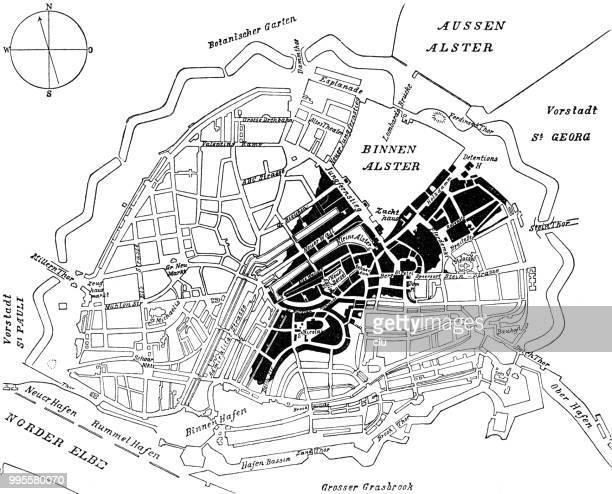 city map of hamburg in 1842 - 1840 1849 stock illustrations