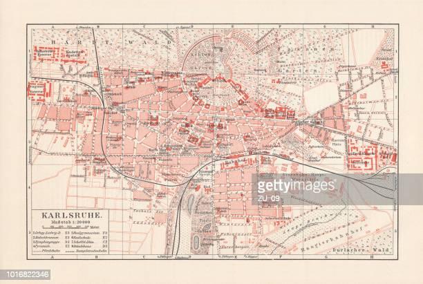 stadtplan der innenstadt von karlsruhe, baden-württemberg, deutschland, lithographie, veröffentlicht im jahre 1897 - karlsruhe stock-grafiken, -clipart, -cartoons und -symbole