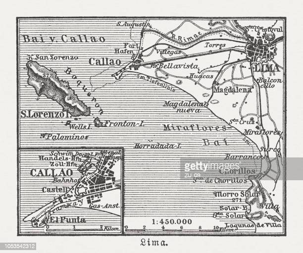City map of Lima and surroundings, Peru, woodcut, published 1897