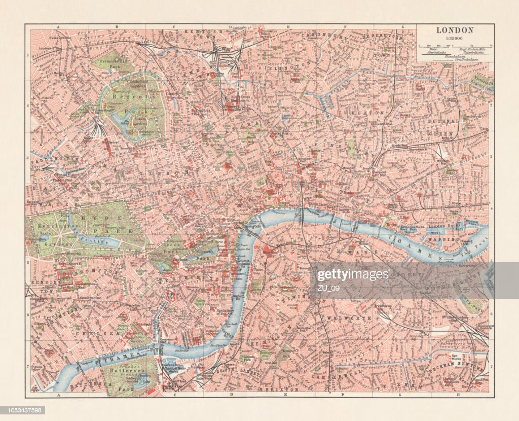 A Map Of London England.City Map Of London England Downtown District Lithograph Published