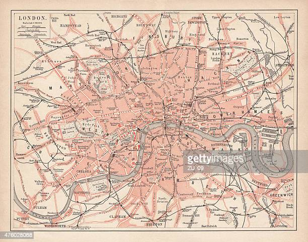 City map of London, lithograph, lithograph, published in 1877