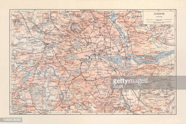 city map of london with suburbs, england, lithograph, published 1897 - london england stock illustrations