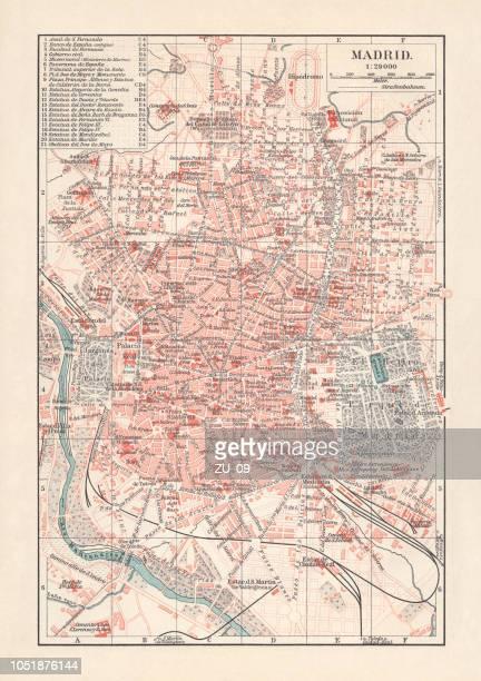 ilustrações de stock, clip art, desenhos animados e ícones de city map of madrid, capital of spain, lithograph, published 1897 - arcaico