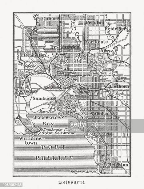 city map of melbourne, australia, wood engraving, published in 1897 - melbourne stock illustrations