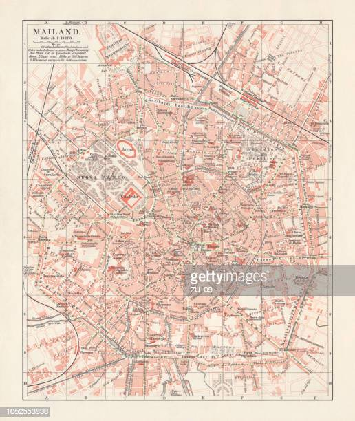 city map of milan, italy, lithograph, published in 1897 - milan stock illustrations, clip art, cartoons, & icons