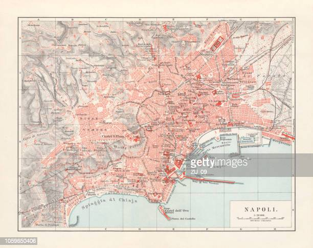 city map of naples (italian: napoli), italy, lithograph, published 1897 - naples italy stock illustrations