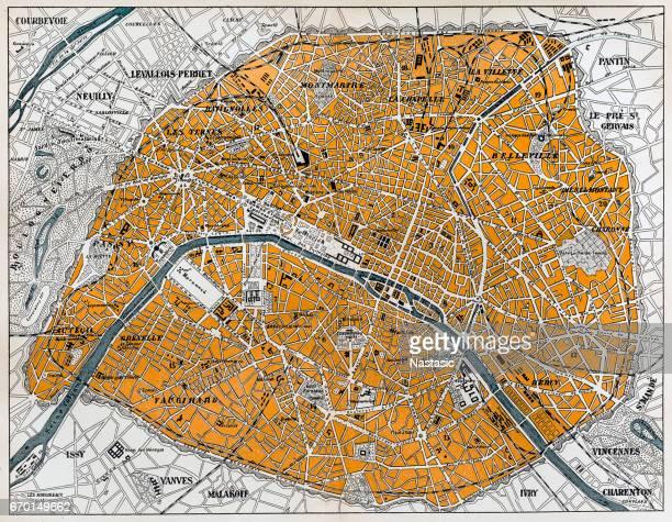 ilustrações, clipart, desenhos animados e ícones de mapa da cidade de paris - mapa de rua