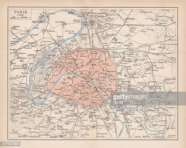 ilustrações, clipart, desenhos animados e ícones de mapa da cidade de paris, litografia, publicado em 1877 - mapa de rua