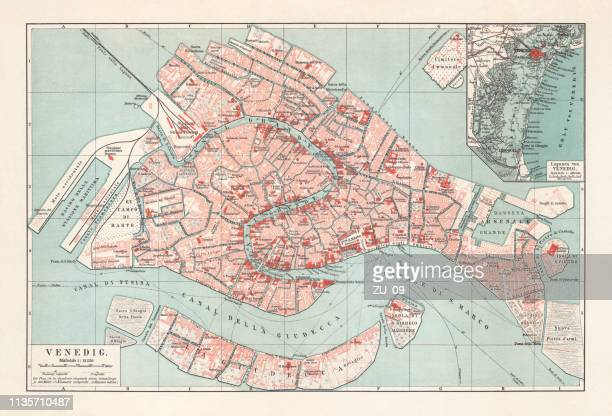 city map of venice, italy, lithograph, published in 1897 - venice italy stock illustrations, clip art, cartoons, & icons