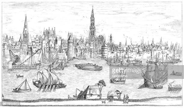 antwerpen belgien aus dem 16. jahrhundert abbildung - antwerp city belgium stock-grafiken, -clipart, -cartoons und -symbole
