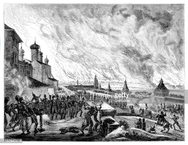 city of moscow burning 15-17 september 1812 - historical document stock illustrations, clip art, cartoons, & icons
