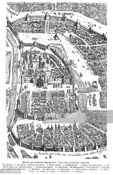 City of Moscow Russia 17th century map illustration