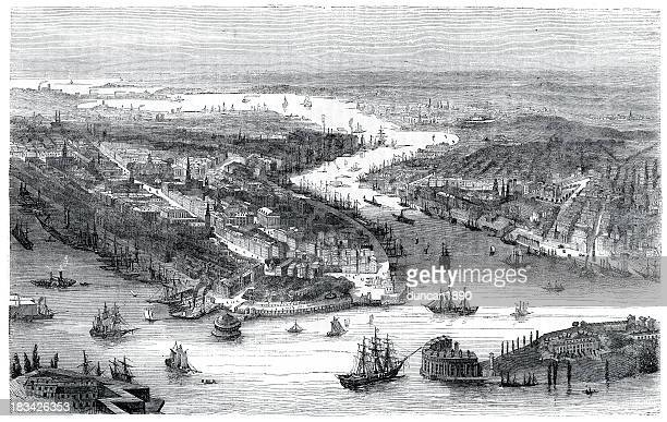 city of new york in 1860 - industrial revolution stock illustrations