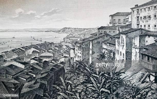 ilustrações, clipart, desenhos animados e ícones de cidade de salvador no brasil - século xix