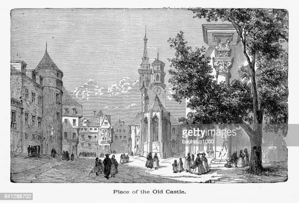 city of stuttgart, the capital of wurtemberg, germany circa 1887 - spire stock illustrations, clip art, cartoons, & icons