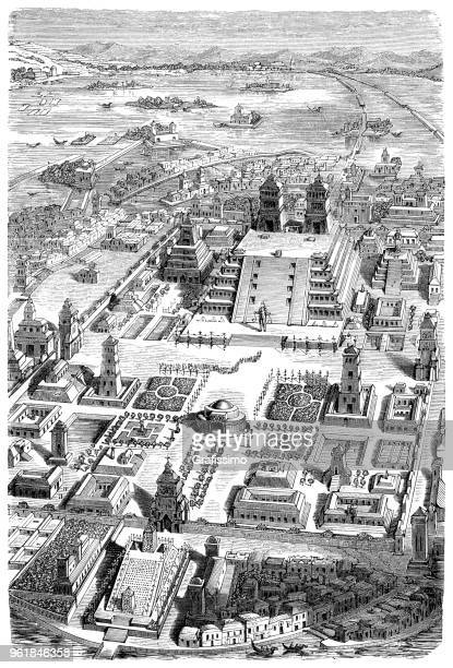 ilustrações de stock, clip art, desenhos animados e ícones de city of tenochtitlan with the temple teocalli in the lake texcoco - astecas