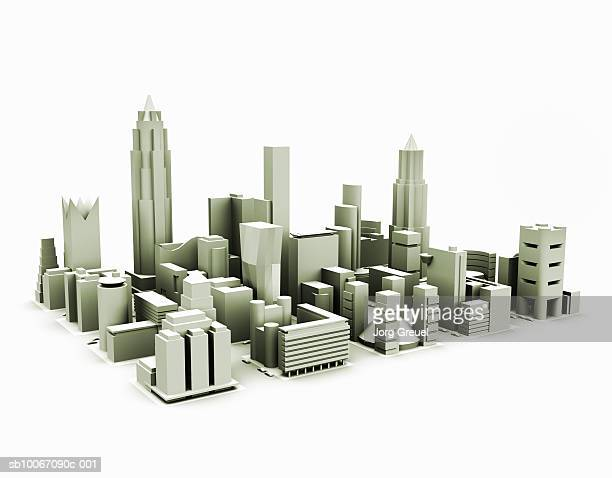 city on white background - model stock illustrations