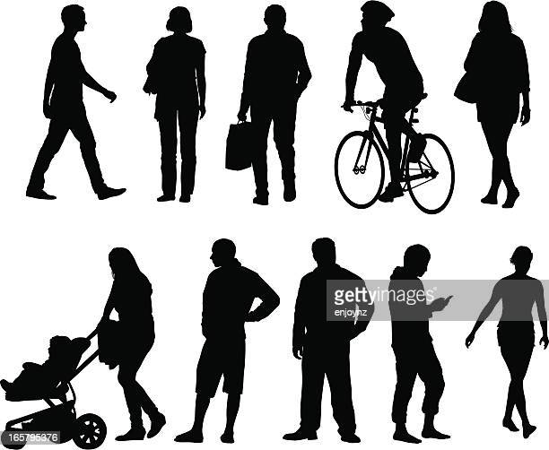 city people silhouettes - pedestrian stock illustrations, clip art, cartoons, & icons