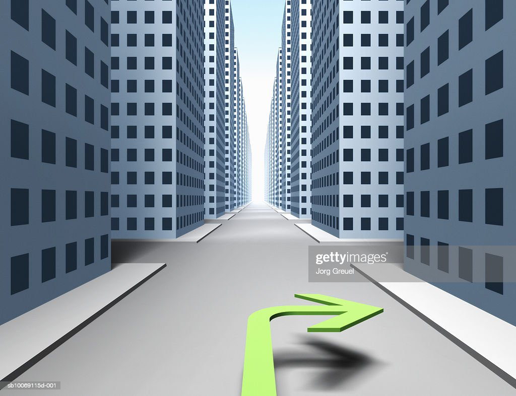 City street with green turn right arrow (digitally generated) : Stockillustraties