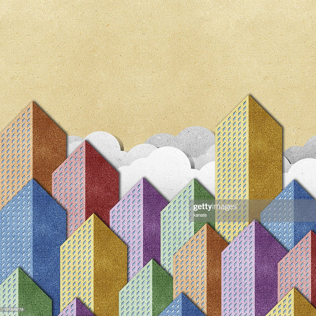 City View Recycled Papercraft Background Stock Illustration