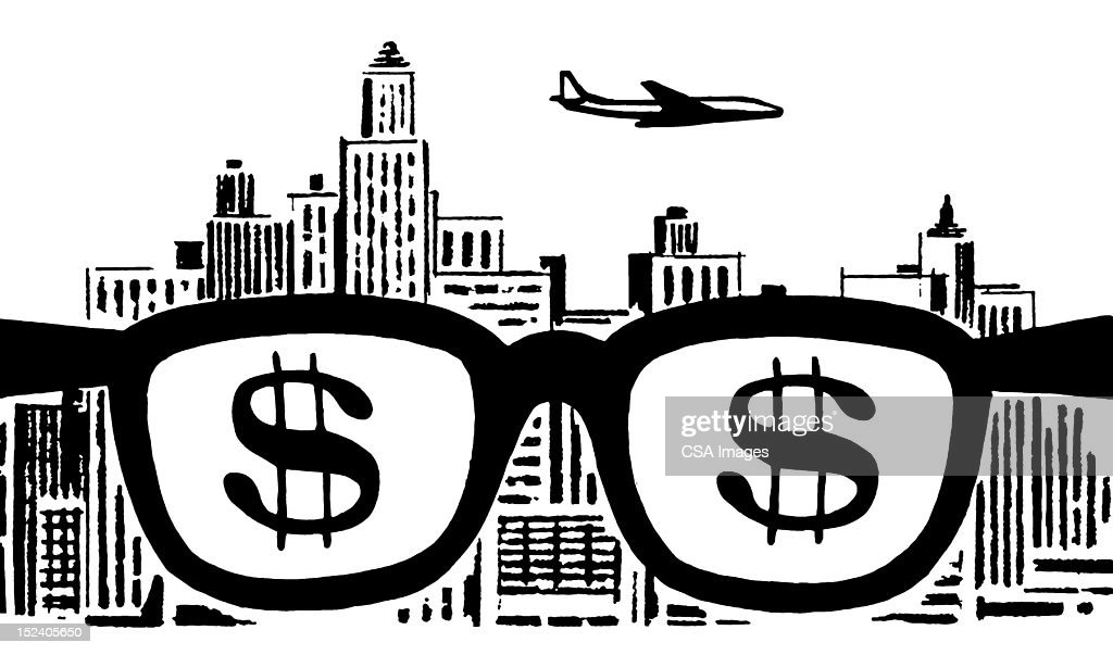 Cityscape And Money Glasses : stock illustration