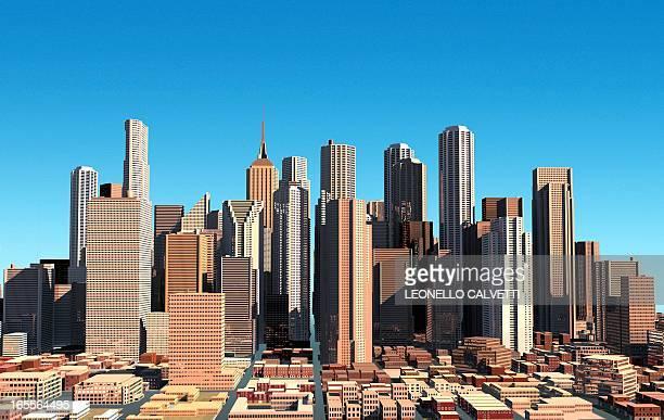 cityscape, artwork - tall high stock illustrations