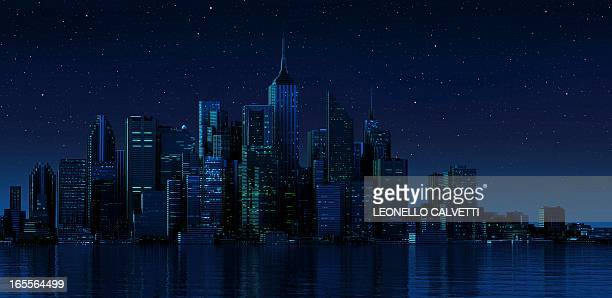 illustrations, cliparts, dessins animés et icônes de cityscape at night, artwork - paysage urbain