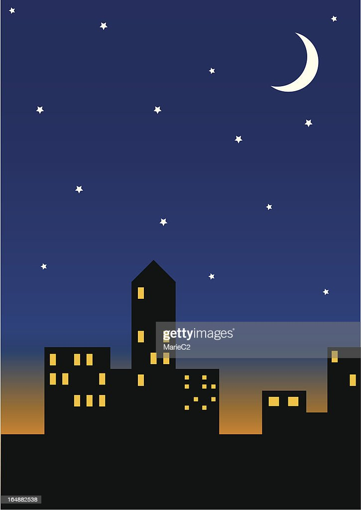 Cityscape at night (Zipped file includes eps and jpeg versions)