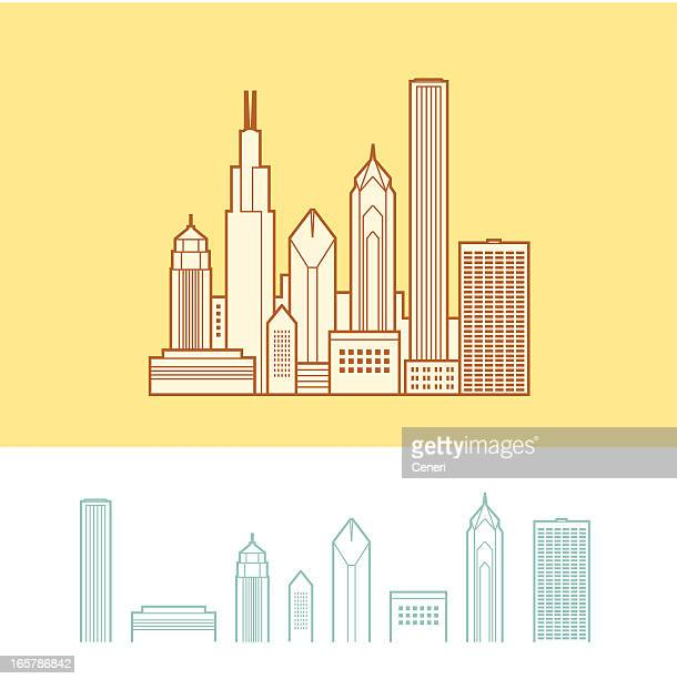 cityscape of chicago, illinois, usa - chicago loop stock illustrations, clip art, cartoons, & icons