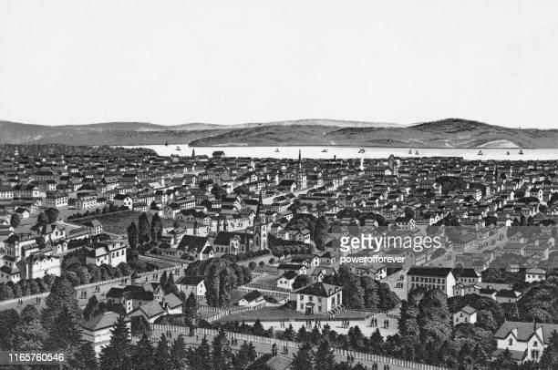 cityscape of hamilton, ontario, canada - 19th century - lake ontario stock illustrations, clip art, cartoons, & icons