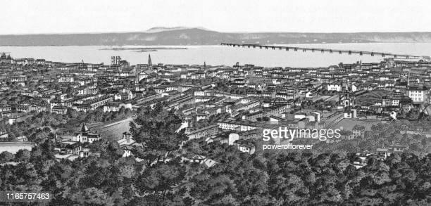 cityscape of montreal, quebec, canada - 19th century - australia day stock illustrations
