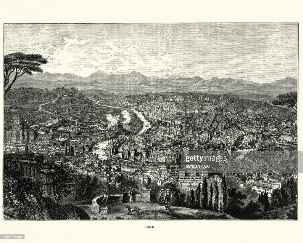 Cityscape of Rome, Italy, 19th Century : stock illustration