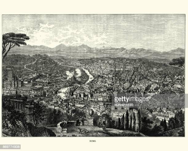 ilustrações de stock, clip art, desenhos animados e ícones de cityscape of rome, italy, 19th century - st. peter's basilica the vatican