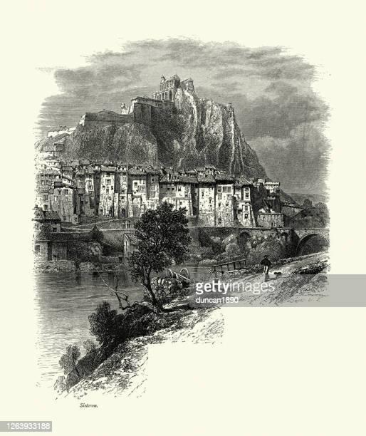 cityscape of sisteron, bridge over river durance, france, 19th century - sisteron stock illustrations