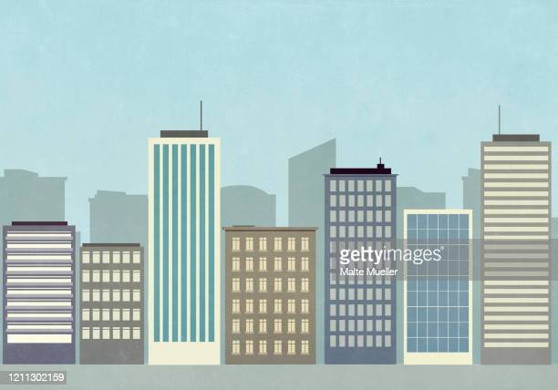 cityscape of skyscraper buildings - downtown district stock illustrations