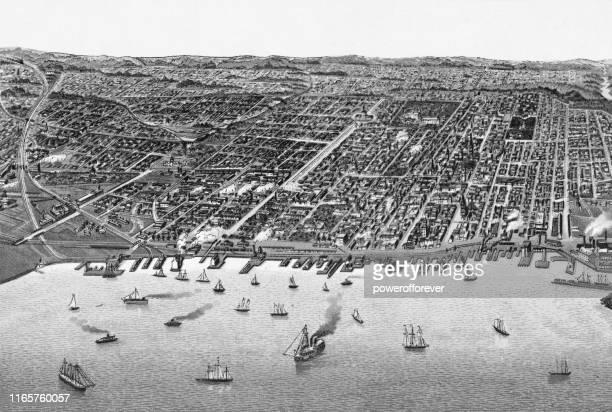 cityscape of toronto, ontario, canada - 19th century - lake ontario stock illustrations, clip art, cartoons, & icons