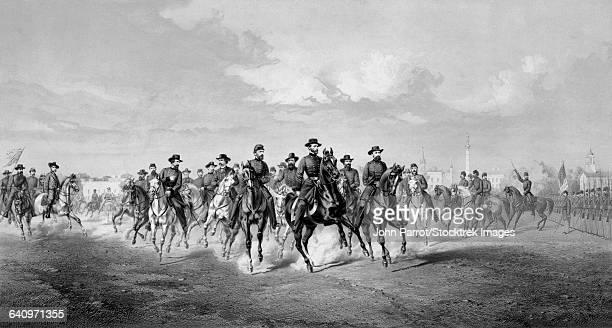 civil war print of general sherman and his generals on horseback. - savannah georgia stock illustrations, clip art, cartoons, & icons