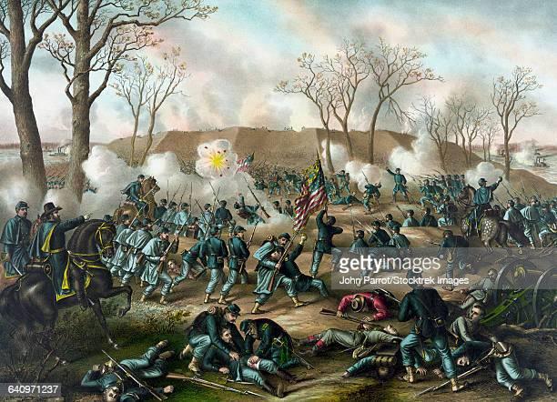 civil war print of the battle of fort donelson. - american civil war battle stock illustrations