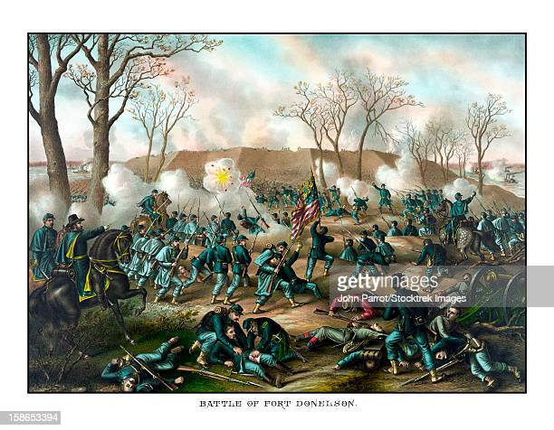 civil war print showing union and confederate troops fighting at the battle of fort donelson. the capture of the fort by union forces opened the cumberland river as an avenue for the invasion of the south. - lying on back stock illustrations, clip art, cartoons, & icons