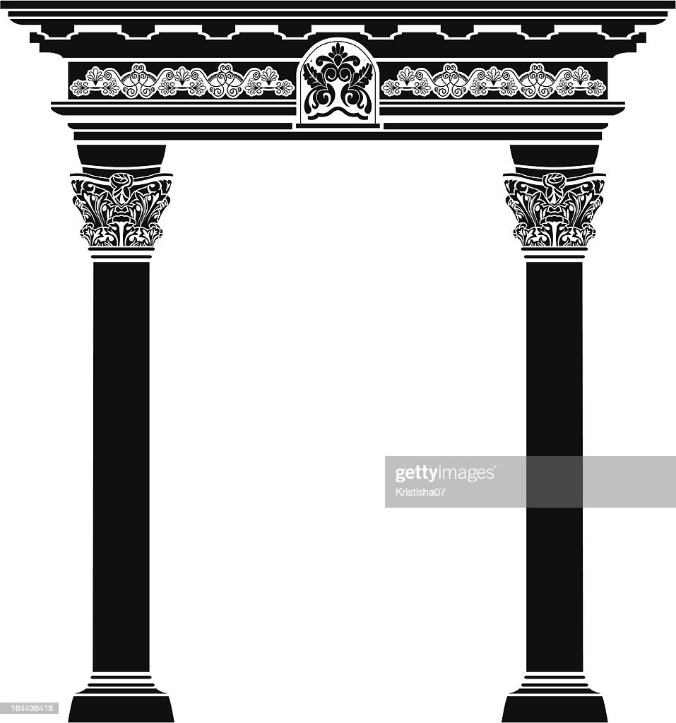 Classic arch with fiigree column and pattern